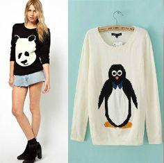 Black Long Sleeve Cartoon Panda Pattern Sweater