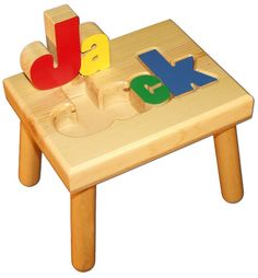 Small Name Puzzle Stool In Primary Colors