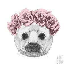 Portrait of Baby Fur Seal with Floral Head Wreath. Hand Drawn Illustration. Art Print by victoria_novak at Art.com
