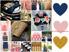 Azul Navy + Rosa Quartz + Dourado Navy Blue + Pink Quartz + Gold by Planeta Casamento http://www.planetacasorio.com.br/