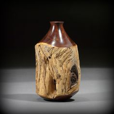 Rare Australian Snakewood Fencepost Weedpot, by Massachusetts woodturner Ray Asselin, at Bowlwood.com