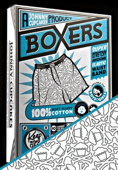 Crossbones Pattern Boxers (White)  #johnnycupcakes #underwear #packaging