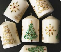 Set of 6 Christmas Henna Candles - Henna Inspired Home Decor/Holiday Decor, Holiday Gifts, Christmas Gifts, Christmas Party Favors - Beth Summers Willard Homemade Candles, Diy Candles, Christmas Party Favors, Christmas Crafts, Christmas Décor, Henna Candles, Candle Making Business, Candle Art, Xmax