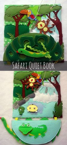 Safari Quiet Book #quietbook #preschool #preschoolers #prek #toddler #safari #daycare #homeschool #homeschooling #affiliate