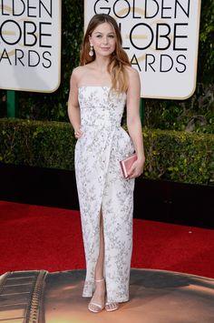 Melissa Benoist in a Monique Lhuillier dress and Irene Neuwirth jewelry - 2016 Golden Globe Awards