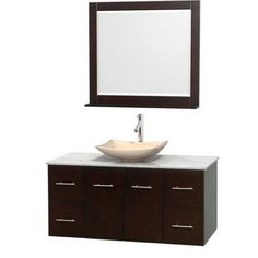 Wyndham Collection Centra 48 inch Single Bathroom Vanity in Gray Oak, White Carrera Marble Countertop, Arista Ivory Marble Sink, and 36 inch Mirror