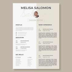 """Lebenslauf Vorlage: Stand out with this Resume template CV Template """"Florence"""" Welcome to the Resume… Modern Resume Template, Resume Template Free, Creative Resume Templates, Free Resume, Cv Design Template, Cv Simple, Fashion Resume, Fashion Cv, Fashion Designer Resume"""