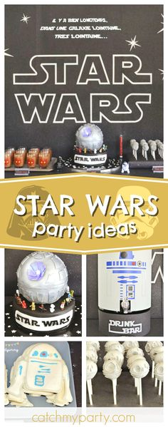 May the Force be with you! Check out this cool Star Wars birthday party! Love the Death Star birthday cake!! See more party ideas and share yours at CatchMyParty.com #party #starwars #thelastjedi
