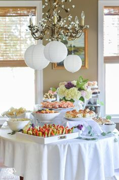 Southern Garden Party Bridal Shower Ideas- food table with garden lanterns