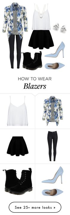 """How to wear a floral blazer"" by trendsetter12 on Polyvore featuring LE3NO, Dr. Martens, Norma J.Baker, Alice + Olivia, Michael Kors and Georgini"
