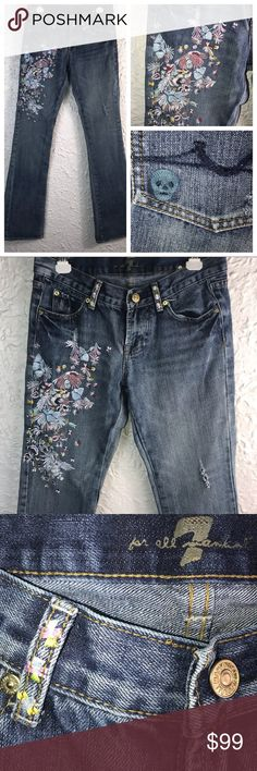 "Only 250 Made Rare Zac Posen Havana 7faM Jeans 7 FOR ALL MANKIND & ZAC POSEN  Floral & Skull Embroidered Flare Jeans in ""Havana"" wash Gems and Jewels Tassel Not included.  Only 250 pairs were ever made exclusively for Neiman Marcus! Zac posing seven for all mankind heavily embellished jeans ✅ 28 Waist ✅Rise 7 ✅Inseam 34 ✅Hips 36 ✅Length 42 ✅Flare width 9 7 For All Mankind Jeans Flare & Wide Leg"
