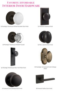 Favorite Affordable Interior Door Hardware, door hardware, changing out door hardware Updating door hardware is a small home project that can make a huge impact. Check out these affordable door hardware options! Farmhouse Interior Doors, Interior Door Knobs, Black Interior Doors, Home Interior, Farmhouse Door, Paint Door Knobs, Bronze Door Knobs, Interior Design, Farmhouse Windows