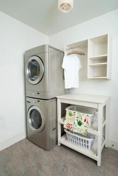 love the folding table with laundry basket storage underneath Would be great for my small laundry room Tiny Laundry Rooms, Laundry Room Shelves, Laundry Room Remodel, Laundry Closet, Laundry Room Organization, Laundry Room Design, Garage Laundry, Laundry Table, Laundry Organizer