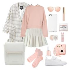 """""""pink and white"""" by vit1017 on Polyvore featuring Monki, Acne Studios, adidas Originals, Essie, Nasty Gal, SnapLight, Herbivore, Fresh, Tony Moly and cute"""