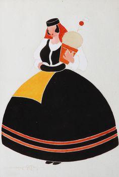 """Maria Keil (1914-2012) Figura feminina com manjerico - """"São João"""", guache sobre papel. Assinado e datado de 1942, Portugal"""