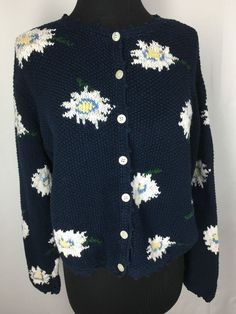 Eddie Bauer Women's Sweater Hand Knit Small Petite Blue Floral With Buttons  | eBay