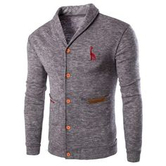 light Grey Casual Solid Color Cardigan For Men