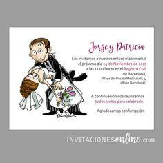 Invitación de Boda divertida con personajes #invitacionesdeboda  #invitacionesonline #bodas #casament #wedding #noscasamos #papelypapel #invitacionesdivertidas