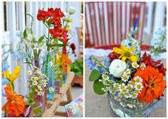 Love the country garden feel of these arrangements - Design By Aubrey