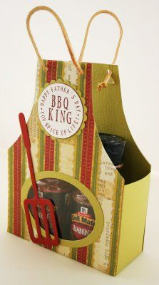 Apron boxes for a variety of gift ideas - teacher, grab bags, BBQ (father's… Craft Gifts, Diy Gifts, Scrapbook Cards, Scrapbooking, Diy Cadeau Noel, 3d Paper Crafts, Fathers Day Cards, Homemade Gifts, Homemade Bbq