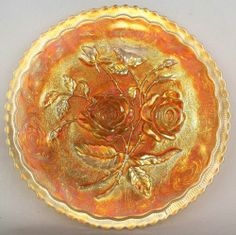 "Open Rose by Imperial Marigold Carnival Glass 9"" Plate 