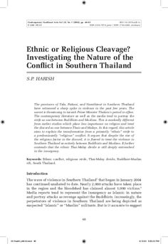 Project MUSE - Ethnic or Religious Cleavage? Investigating the Nature of the Conflict in Southern Thailand