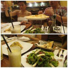 Caesar salad,Carbonara, pizza margarita, pineapple juice @aria ashton ashton Italian restaurant boracay..
