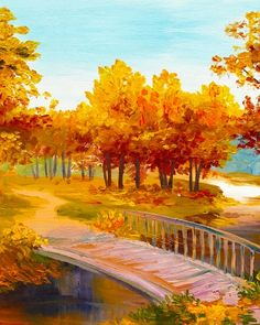 Autumn tree path and bridge painting. Paint Nite Ottawa | Oh So Good Desserts and Coffee House - Westboro 11/18/2015