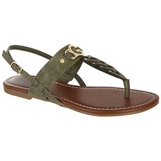 G by Guess shoes bring modern influences to classic designs.  These Liberty sandals feature a T-strap with metal stud details and a buckle closure on the ankle strap.