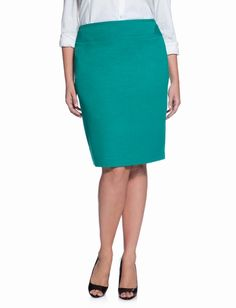 OMG, this is so fun! Classic Fit Piped Pencil Skirt - Teal | Eloquii by The Limited