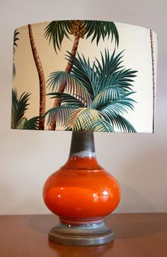 Table Lamp - a toss up between Eclectic or Boho - the tangerine colour of the base & the palm tree lampshade is fabulous!