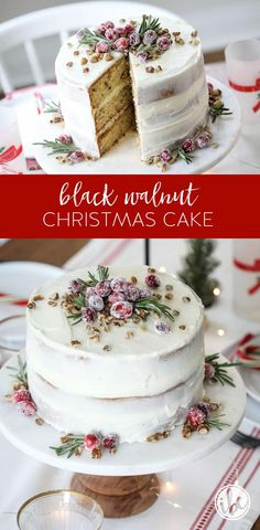 This Black Walnut Cake is a delicious Christmas Cake perfect for the holiday season! This Black Walnut Cake is a delicious Christmas Cake perfect for the holiday season! Vegan Christmas Desserts, New Year's Desserts, Cute Desserts, Christmas Cupcakes, Christmas Recipes, Christmas Goodies, Christmas Baking, Dessert For Christmas Dinner, Christmas Jingles