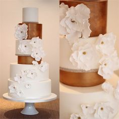 Make a real statement with your wedding cake by choosing something like this six-tiered show stopper from Sweet as Sugar. We love the two rose gold tiers and how they stand out amongst the white layers, as well as the pretty white sugar flowers, complete with rose gold centres.