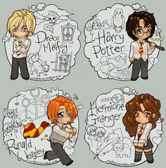 Draco Harry Ron and Hermione by Kinky-chichi.deviantart.com on @deviantART