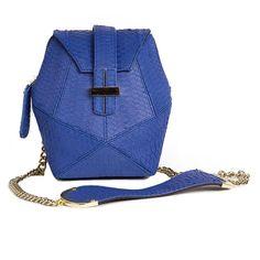 Atomic Mini Box Bag in Blue Snakeskin