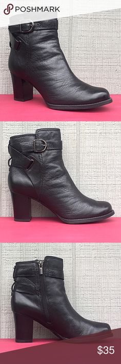 "Black leather heeled ankle boots from Clark's Fantastic little boots from Clark's Artisan collection in a soft, black leather.  They have inside zippers an adjustable silver buckle to alter width, and 3"" heels.  Excellent condition with just a very small amount of wear on soles and one scuff on a heel.  Please note that right boot is 1/4 inch taller - and I have no idea why.  It's not even noticeable when you're wearing them.  Size 8.5. Clark's Shoes Ankle Boots & Booties"