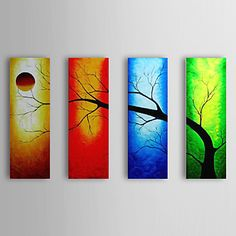 Hand Painted Oil Painting Landscape Tree with Stretched Frame Set of 4…