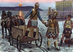 "Giuseppi Rava - A Mycenaean 4 wheeled chariots, some late bronze age warriors and one of Homer's ""Achaeans"" black ships. Minoan Art, Sea Peoples, Greek Warrior, Trojan War, Mycenaean, Medieval World, Bronze Age, Ancient Civilizations, Ancient Greece"