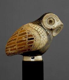Amazing ~ Protocorinthian aryballos [i.e. oil/perfume bottle] in the shape of an owl, ca 640BC