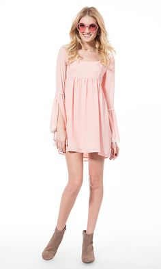 Blush pink babydoll dress and ankle boots. #festival #fashion #outfit #inspiration