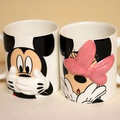 Disney Mickey Mouse & Minnie Mouse Hiding mug pair