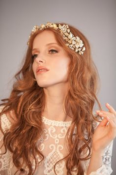 Justine M. Couture Bridal Headpieces Chareston Bridal Hair Vine. A stunning bridal hair vine of dense gold foliage accentuated with clear crystals. Bohemian Glam at it's best.