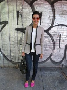 This outfit has reaffirmed my addiction to Helmut Lang jackets - the perfect work wear  Jacket: Helmut Lang | Shirt: Zara | Jeans: Acne | Shoes: Charles Philip Shanghai |