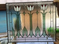 Pretty! Classic  Style  Engligh Tulip Stained Glass Panel (We do custom work, email for a quick quote)
