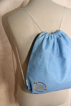 Don't worry be happy gym bag , Drawstring gym bag , Denim backpack with embroidery , Denim purse , Denim bag , Rucksack , School swim bag by SecondBirthday on Etsy