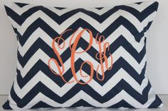 Monogrammed Pillow - Personalized Home Decor - Initial Monogram - 12 x 16 Personalized Gift Baby Wedding Dorm Decor on Etsy, $23.95