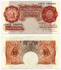 1955-1960 Great Britain Ten Shillings Seated Britannia Signed O'Brien Prefix U97Y
