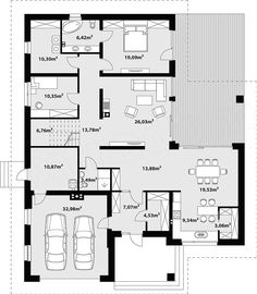 Rzut parteru projektu Goran 2 Family House Plans, Dream House Plans, Bungalow Floor Plans, House Furniture Design, Concept Home, Home Projects, Planer, Architecture Design, New Homes