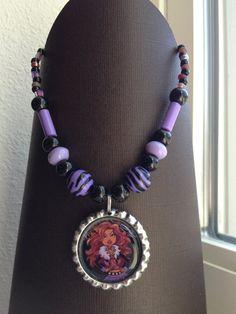 Claudine Wolf Monster High Bottlecap Necklace Beaded