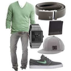 """Battleship Gray Belt - Mint Green"" by kristinmadsen on Polyvore (not sure of the hat tho)"